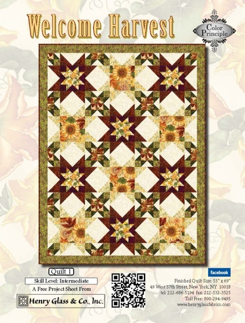 """Welcome Harvest—Quilt 1"" Free Thanksgiving Quilt Pattern designed by Color Principle from Henry Glass Fabrics"