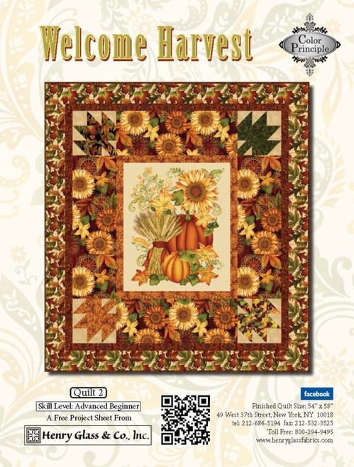 """Welcome Harvest—Quilt 2"" Free Thanksgiving Quilt Pattern designed by Color Principle from Henry Glass Fabrics"