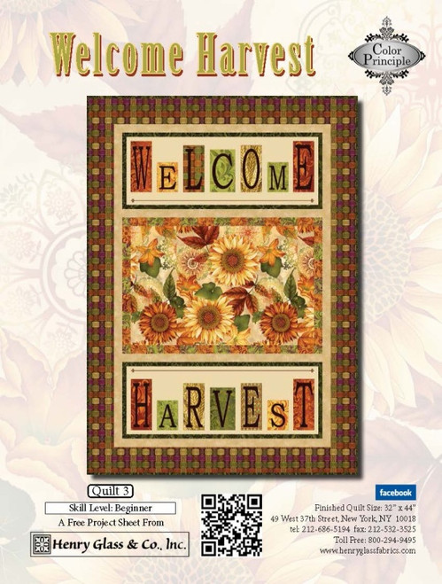 """Welcome Harvest—Quilt 3"" Free Thanksgiving Quilt Pattern designed by Color Principle from Henry Glass Fabrics"