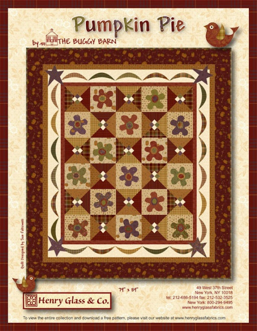 """Pumpkin Pie"" Free Thanksgiving Quilt Pattern designed by The Buggy Barn from Henry Glass Fabrics"