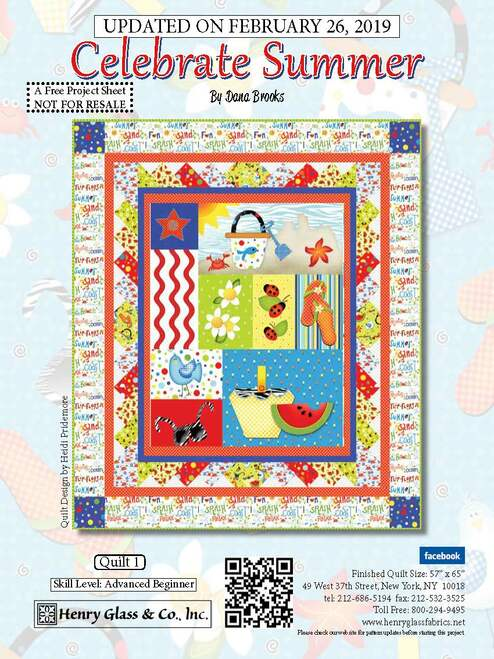 """""""Celebrate Summer Quilt #1"""" a Free Summer Quilt Pattern designed by Heidi Pridemore from Henry Glass Fabrics"""