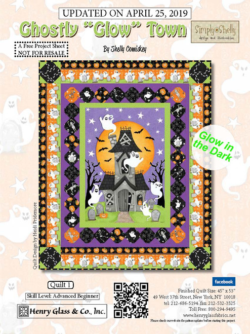 """Ghostly Glow Town Quilt #1"" a Free Halloween Quilt Pattern designed by Shelly Comiskey from Henry Glass Fabrics"
