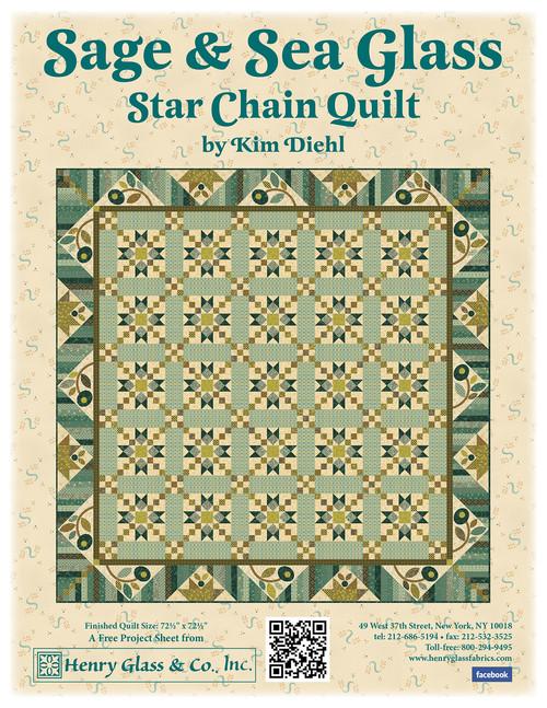Sage & Sea Glass  - Star Chain Quilt
