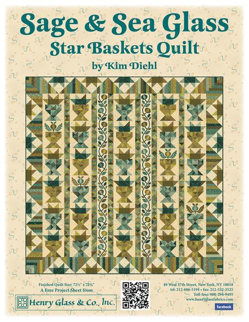 Sage & Sea Glass - Star Baskets Quilt