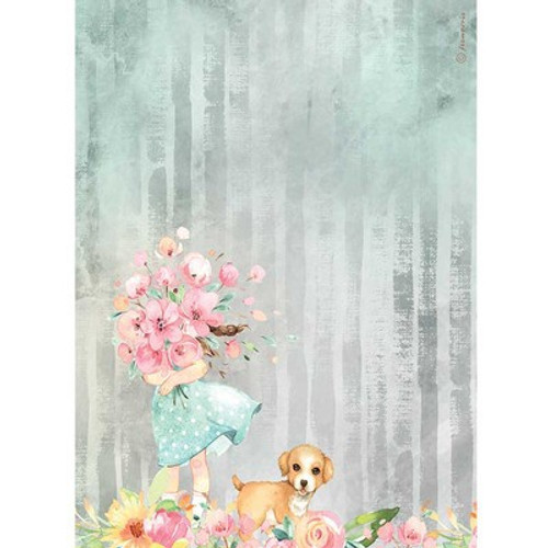 Stamperia: A4 Rice Paper, Circle of Love - Bouquet & Dog