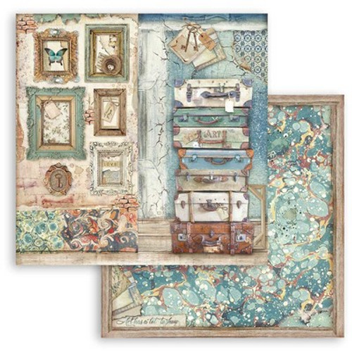 """Stamperia: 12"""" x 12"""" Patterned Paper, Atelier Des Arcs - Luggage"""