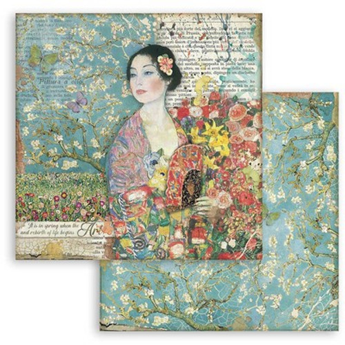 """Stamperia: 12"""" x 12"""" Patterned Paper, Atelier Des Arcs - Dame With Fan"""