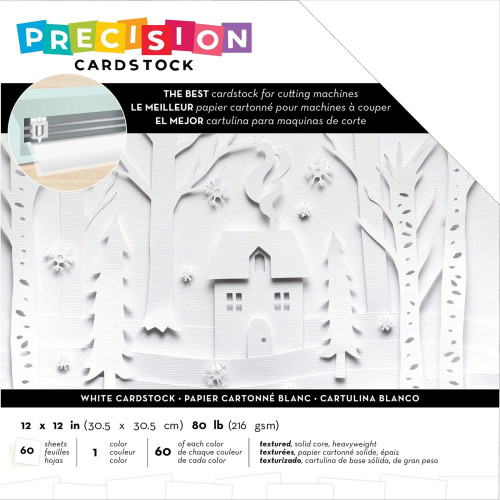 American Crafts: 12x12 Precision Cardstock Pack, Textured - White