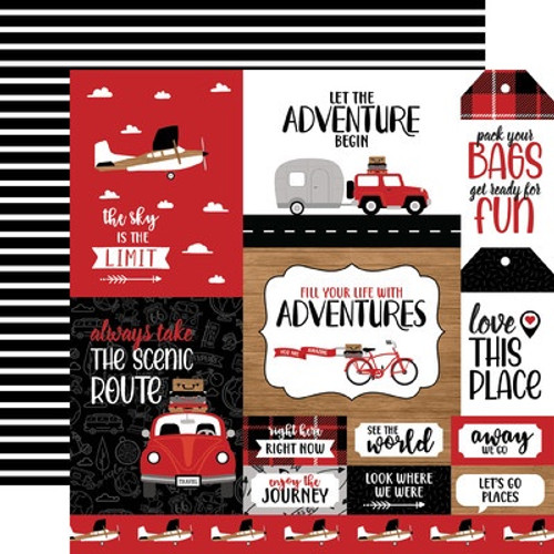 Echo Park : 12X12 Patterned Paper, Let's Go Anywhere -Multi Journal Cards
