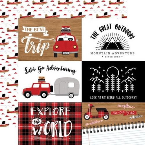 Echo Park : 12X12 Patterned Paper, Let's Go Anywhere -6x4 Journaling Cards