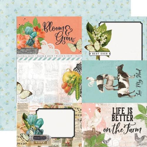 Simple Stories: 12X12 Patterned Paper, Simple Vintage - Farmhouse Garden - 4x6 Elements