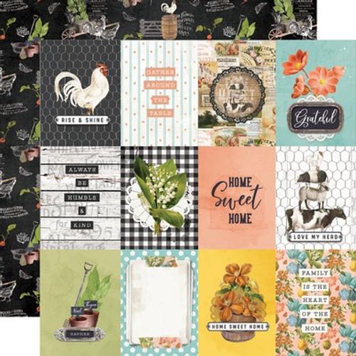 Simple Stories: 12X12 Patterned Paper, Simple Vintage - Farmhouse Garden - 3x4 Elements