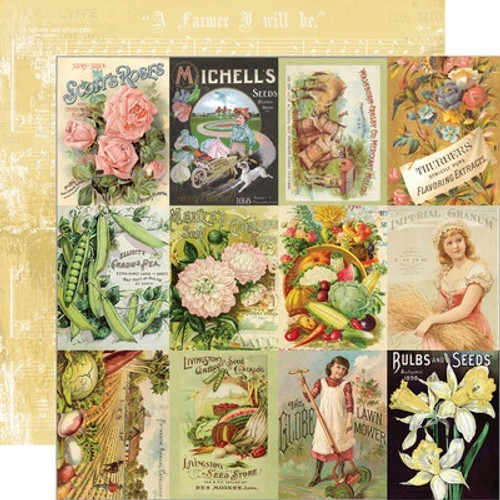 Simple Stories: 12X12 Patterned Paper, Simple Vintage - Farmhouse Garden -3x4 Seed Packet E.