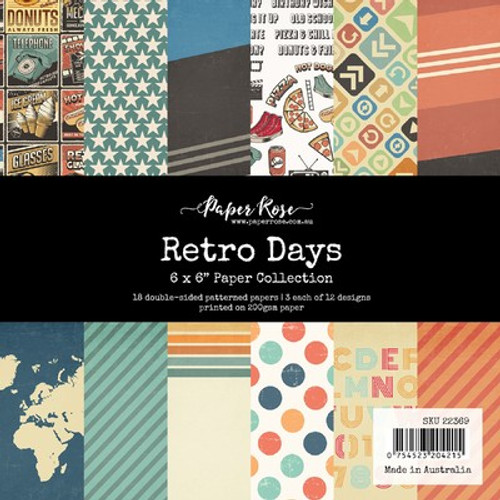 Paper Rose: 6 x 6 Paper Collection, Retro Days