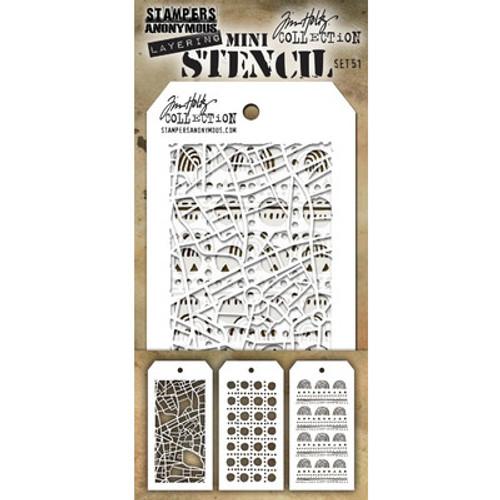 Tim Holtz: Mini Stencil Set, Set #51 (3pc)
