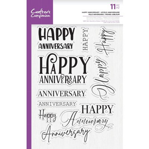 Crafter's Companion: Clear Acrylic Stamp -Happy Anniversary