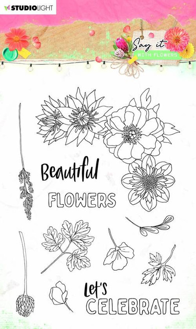 Studio Light: Clear Stamp Say It With Flowers, 105x148mm nr.526