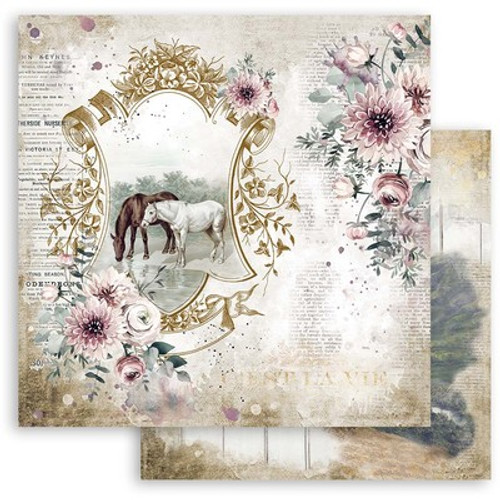 """Stamperia: 12"""" x 12"""" Patterned Paper, Romantic Horses - Lake"""