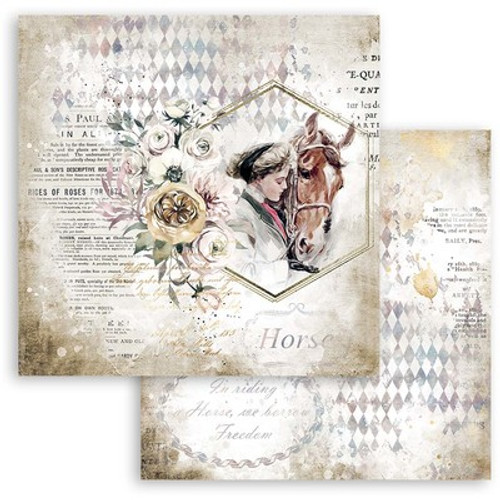 """Stamperia: 12"""" x 12"""" Patterned Paper, Romantic Horses - Lady With Horse"""