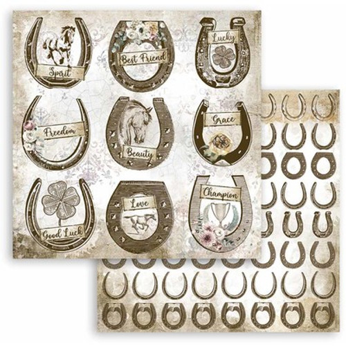 """Stamperia: 12"""" x 12"""" Patterned Paper, Romantic Horses - Horseshoes"""