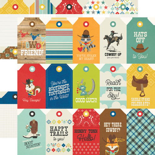 Simple Stories: 12x12 Patterned Paper, Howdy!- Tags