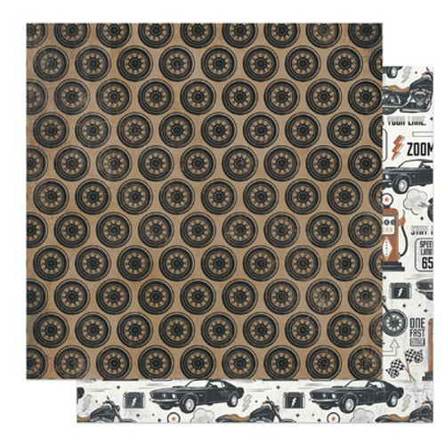 Photo Play Paper: 12X12 Patterned Paper, Grease Monkey, One Fast Dude