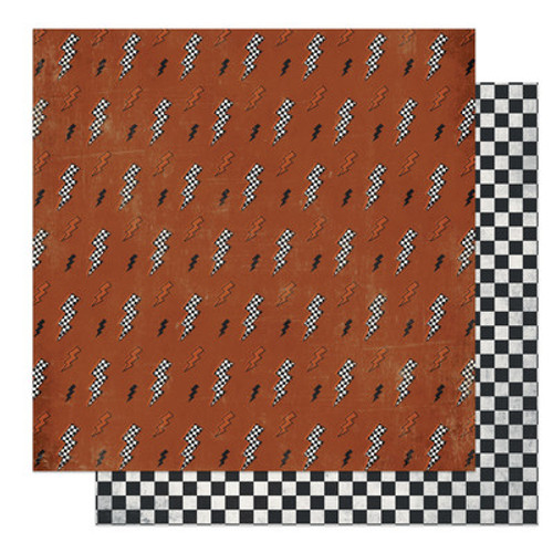 Photo Play Paper: 12X12 Patterned Paper, Grease Monkey, Lightning