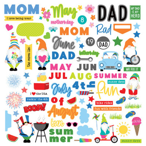 Photo Play Paper: 12X12 Element Sticker Sheet, Gnome Calendar, May - Aug