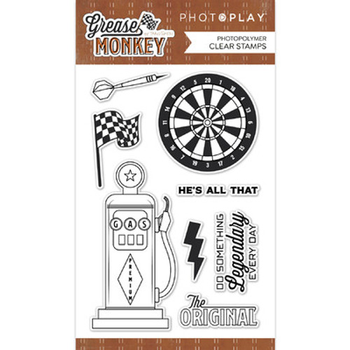 Photo Play Paper: Clear Stamp, Grease Monkey