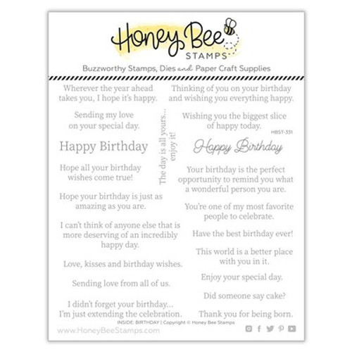 Honey Bee Stamps: Clear Stamp, Inside: Birthday Sentiments