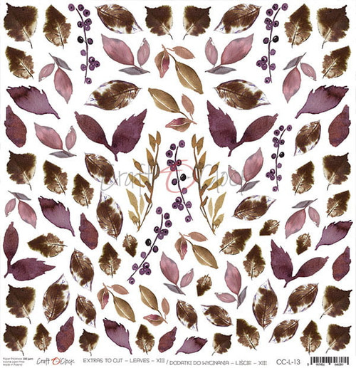 Craft o'Clock: 12x12 Paper, Plum In Chocolate - Extras (Leaves)