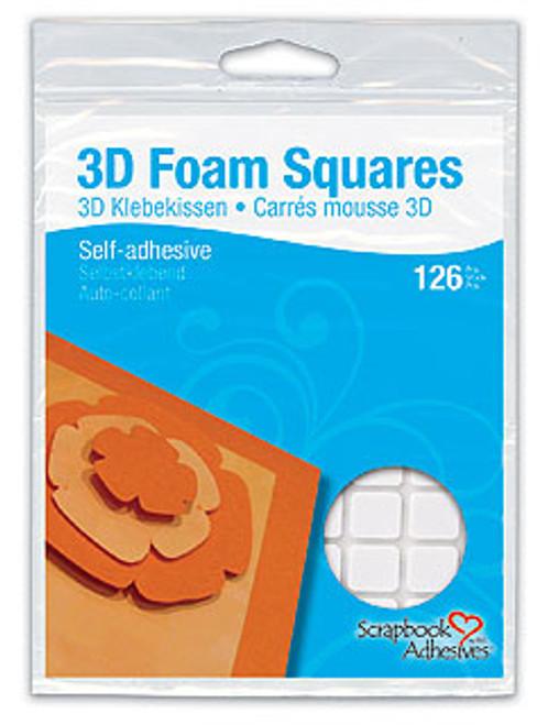 Scrapbook Adhesives: 3D Foam Squares, White 3D Permanent (126pcs)