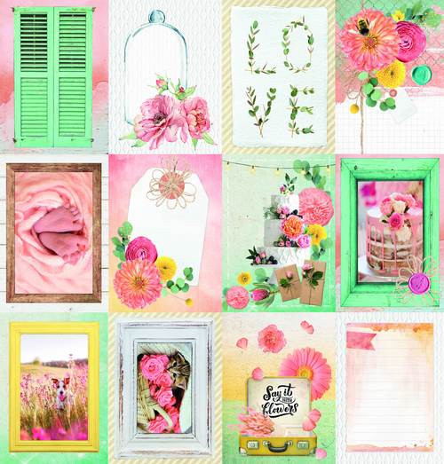 Studio Light: 12 x 12 Patterned Paper, Scrap Say It With Flowers nr.122