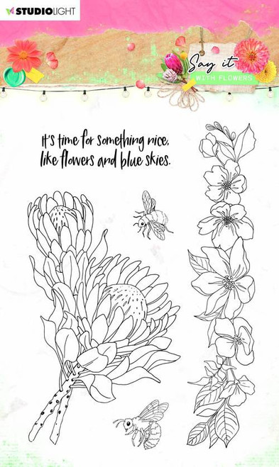 Studio Light: Clear Stamp Say It With Flowers, 105x148mm nr.524