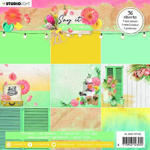 Studio Light: Paper Pad, Patterned Paper Say It With Flowers - 150mmx150mm nr. 162