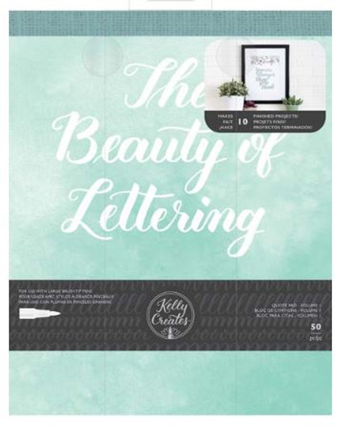 American Crafts: 8X10 Practice Pad, Kelly Creates - Beauty of Lettering - Quotes