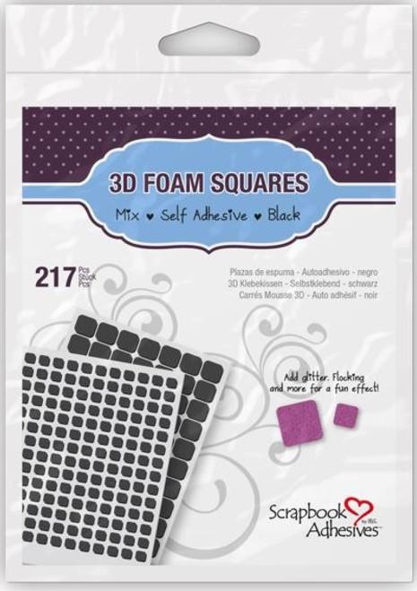 Scrapbook Adhesives: 3D Foam Squares, Assorted Black (217 pcs)