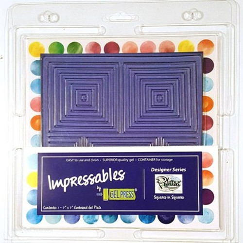 """Gel Press: Gel Plate, Impressables - Squares in Squares 7"""""""