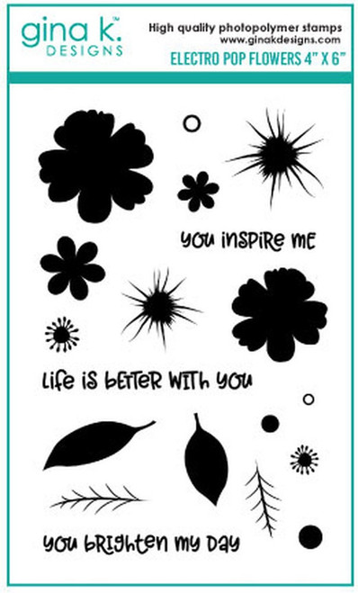 Gina K Designs: Clear Stamp, Electro Pop Flowers