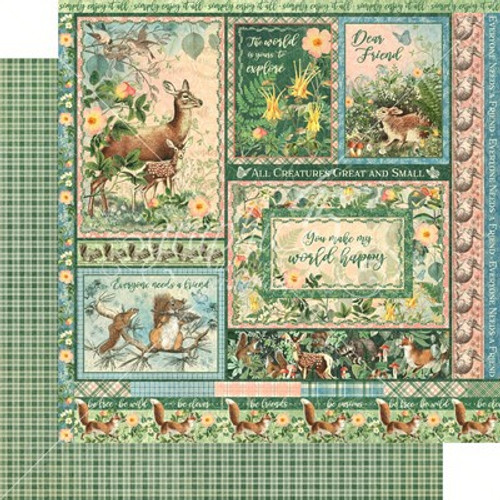 Graphic 45: 12X12 Patterned Paper, Woodland Friends - Be Carefree