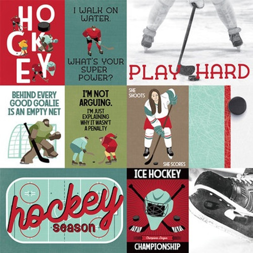 Photo Play Paper: 12X12 Patterned Paper, The Hockey Life - Play Hard