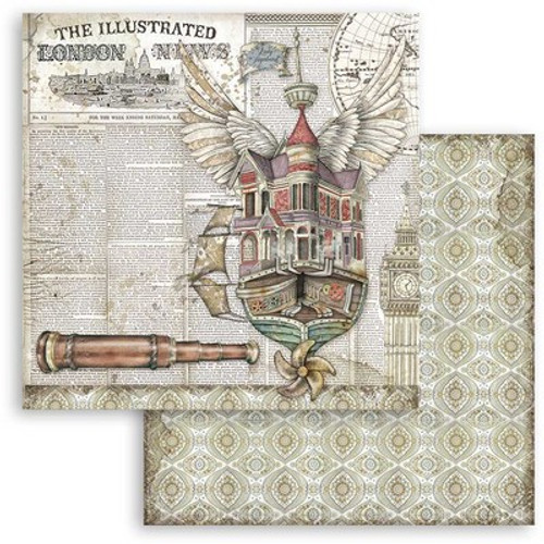 """Stamperia: 12"""" x 12"""" Patterned Paper, Lady Vagabond - Flying Ship"""