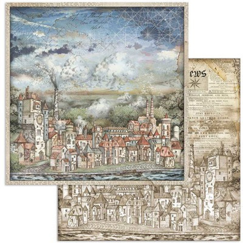 """Stamperia: 12"""" x 12"""" Patterned Paper, Sir Vagabond - Cityscape"""