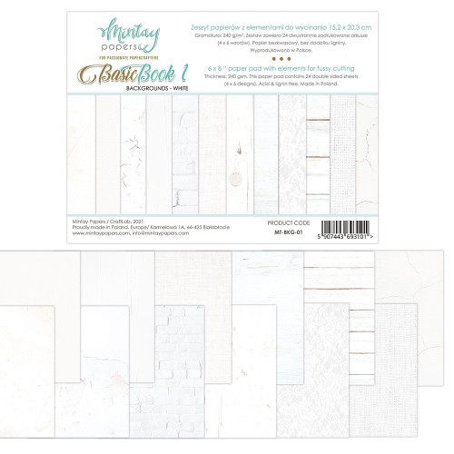 Mintay By Karola: 6 x 8 Paper Pad, Basic Book - Backgrounds - White