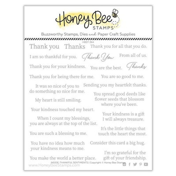 Honey Bee Stamps: Clear Stamp, Inside: Thankful Sentiments