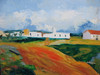 Beautiful medium sized painting on canvas, stretched but without frame, signed by J. Prame.  A red dirt road leads to white buildings with rust colored roofs.