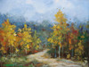Beautiful medium sized painting on canvas, stretched but without frame, signed by Kingsley.  Golden birch trees line a dirt path that winds its way to the base of a mountain range.