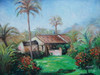 Beautiful medium sized painting on canvas, stretched but without frame, signed by Mickail.  Palm trees and green grass surround an old brown house.
