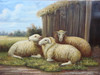 Beautiful medium sized painting, stretched but without frame, by Jackson.  Three sheep gather together outside a small barn.