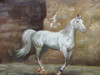 Beautiful painting, stretched but without frame, by S. Charles.  A white horse trots in the dirt in front of a stone wall.